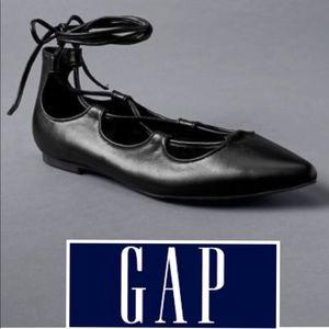 GAP Lace Up Ballet Flats in Black sz 9 NWOT